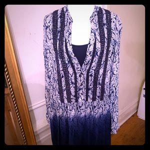 White and Navy Blue long Sleeve Boho Dress